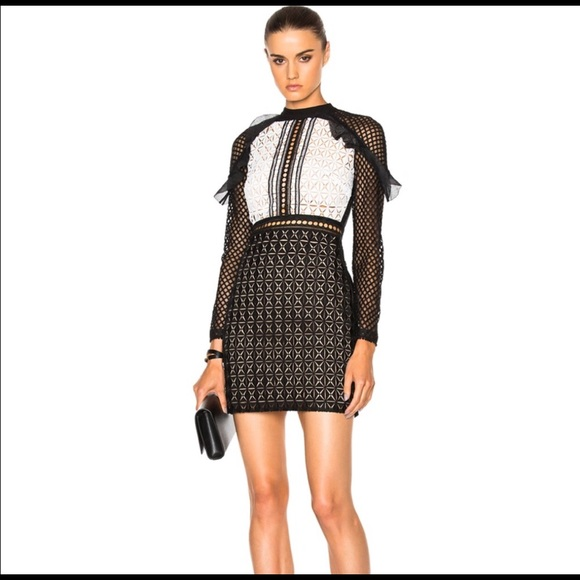 2c47103f2a9a7 Self-Portrait Dresses | Selfportrait Geometric Monochrome Mini Dress ...